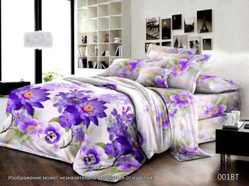 Сатин 001BT Синие цветы